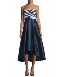 Shoshanna Strapless Sweetheart Neck Midi Gown Navy Optice Women's
