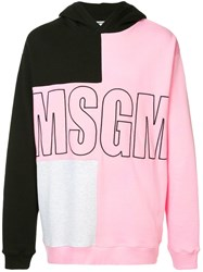 Msgm Contrast Panel Logo Hoodie Pink And Purple