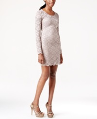 Jump Juniors' Long Sleeve Sequin Illusion Lace Sheath Dress