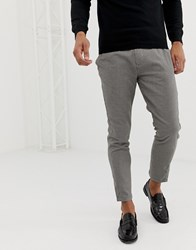 Pull And Bear Pullandbear Slim Tailored Trousers In Houndstooth Tan