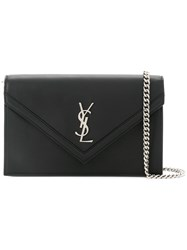 Saint Laurent Envelope Pointed Flap Clutch Black