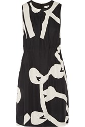 Issa Vilma Printed Silk Dress Black