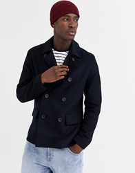 French Connection Wool Blend Pea Coat Navy