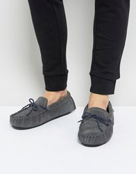 Dunlop Moccasin Slippers In Grey Suede Grey