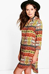 Boohoo Paisley Woven Shirt Dress Mustard