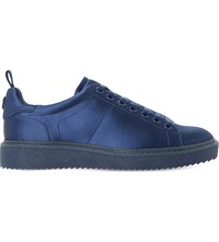 Dune Etch Satin Lace Up Trainers Navy Satin