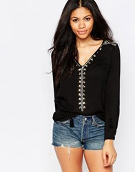 Daisy Street Smock Top With Embroidered Shoulders Black