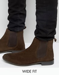 Asos Wide Fit Chelsea Boots In Brown Suede Brown