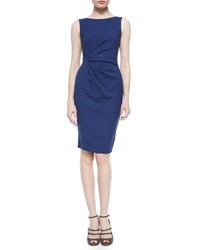 Armani Collezioni Side Ruched Twill Dress Arles Blue
