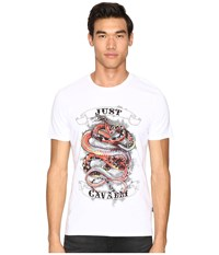 Just Cavalli Tattoo Snake T Shirt White Men's T Shirt