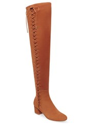 Brian Atwood Mally Over The Knee Flat Suede Boots Cognac