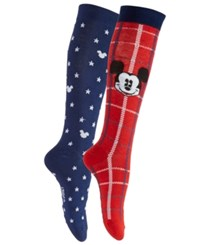 Disney Women's 2 Pk. Plaid Mickey Mouse Knee High Socks Red