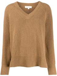 Michael Kors Collection V Neck Jumper Brown