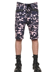 Markus Lupfer Camo Printed Cotton Jogging Shorts Pink Blue