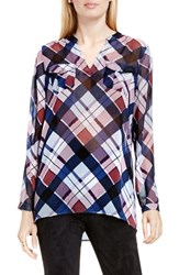Vince Camuto Women's Two By Plaid Split Neck Tunic