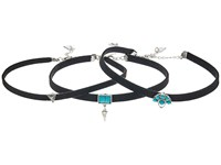 Steve Madden Silver Turquoise Charms Choker Three Piece Set Black Necklace