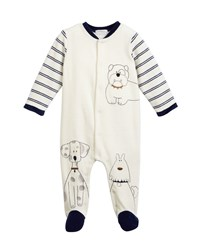 Mayoral Sketched Doggies Embroidered Footie Pajamas Blue