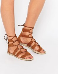 New Look Lace Up Espadrille Sandal Tan