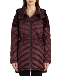 Badgley Mischka Mallory Quilted Puffer Coat Wine