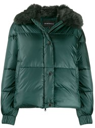 Emporio Armani Faux Fur Collar Padded Jacket Green