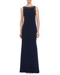 Badgley Mischka Beaded Neck Sleeveless High Low Gown Navy