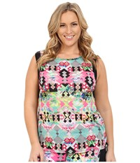 Pink Lotus Plus Size Hawaii Tribe Refreshed Contrast Muscle Tank Passion Fruit Women's Sleeveless Pink