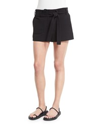 Helmut Lang Double Weave Cotton Belted Shorts Black Size 12