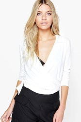 Boohoo Wrap Front L S Collar Crop Cream