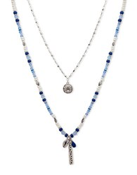 Lonna And Lilly Semi Precious Layered Pendant Necklace Blue