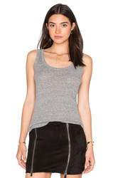 Enza Costa Mock Twist Jersey Rib Fitted Baseball Tank Grey
