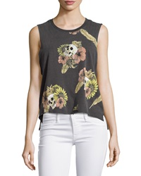 Chaser Hibiscus Skull Cropped Muscle Tank Vintage Black