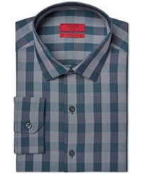 Alfani Red Fitted Performance Dark Teal Oversized Gingham Dress Shirt Only At Macy's