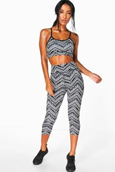 Boohoo Mono Zig Zag Performance Running Legging Black
