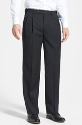 Men's Berle Self Sizer Waist Pleated Wool Gabardine Trousers Charcoal