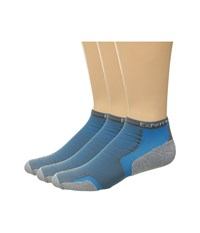 Thorlos Experia Malibu Collection 3 Pair Pack Blushark Crew Cut Socks Shoes Blue