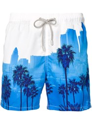 Mc2 Saint Barth Palm Tree Print Swim Shorts White