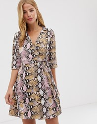 Qed London Wrap Front Shirt Dress In Snake Print Multi
