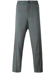 Emiliano Rinaldi Geometric Pattern Cropped Trousers Green