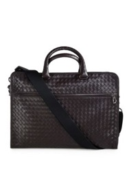 Bottega Veneta Leggeron Intrecciato Leather Briefcase Black Dark Brown
