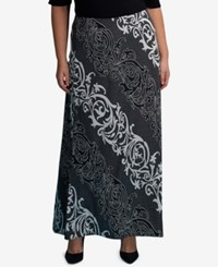Eci Plus Size Jacquard Maxi Skirt Charcoal