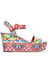 Dolce And Gabbana Printed Glossed Leather Wedge Sandals Red