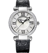 Chopard Imperiale Stainless Steel Diamond Amethyst And Alligator Leather Watch