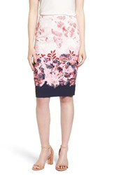 Halogenr Women's Halogen Floral Print Pencil Skirt Pink White Floral