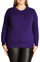 City Chic Plus Size Women's Zigzag Sweater Royalty