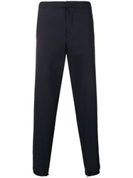 Emporio Armani Cropped Tapered Trousers Blue