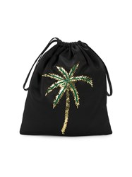 Attico Satin Pouch With Sequin Embellished Palm Tree Black