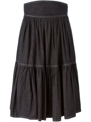 Celine Vintage Flared Skirt Black
