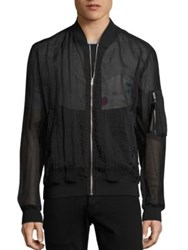 Msgm Sheer Zip Front Bomber Jacket Dark Blue