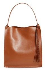 Sole Society Karlie Faux Leather Bucket Bag Brown Cognac