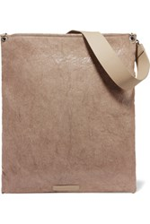 Brunello Cucinelli Leather Trimmed Coated Canvas Clutch Taupe
